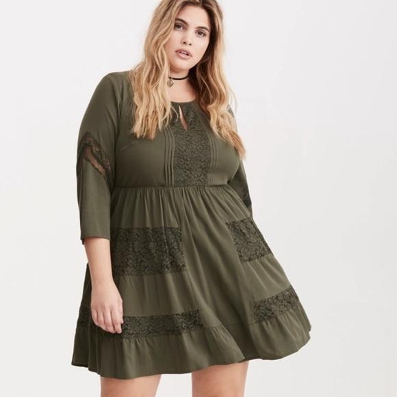 73d300dba3 Torrid Olive Green Lace Inset Challis Dress. M 5c4433d23c984436df5066d4